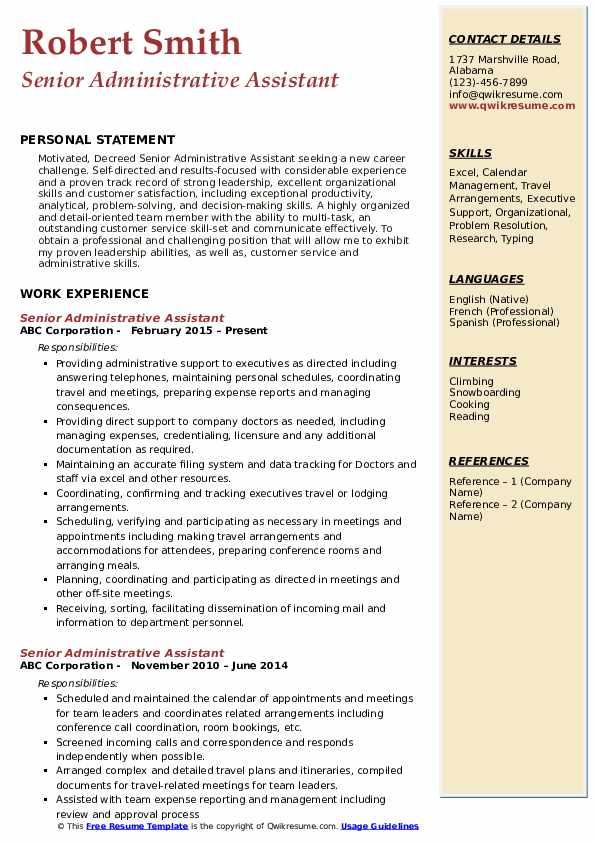 Senior Administrative Assistant Resume Format