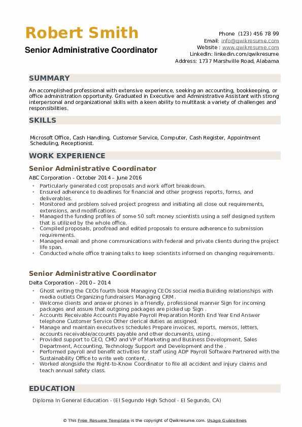 Senior Administrative Coordinator Resume example