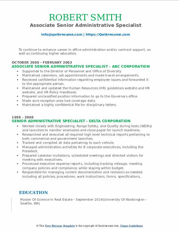 senior administrative specialist resume samples  qwikresume