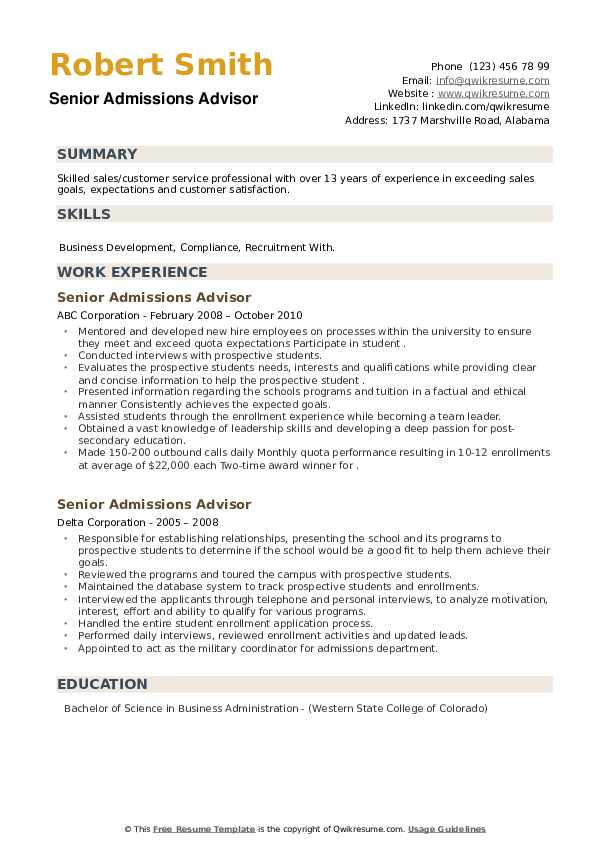Senior Admissions Advisor Resume example