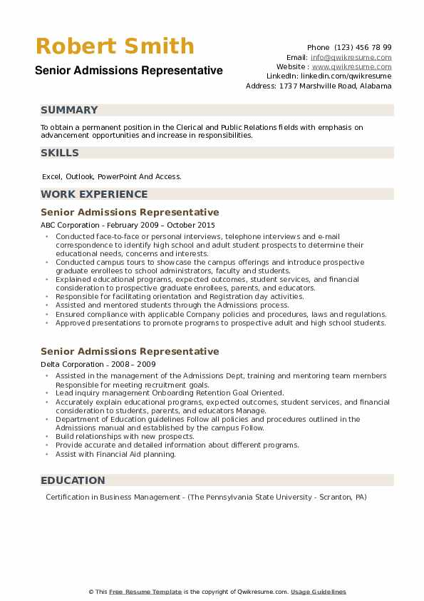 Senior Admissions Representative Resume example