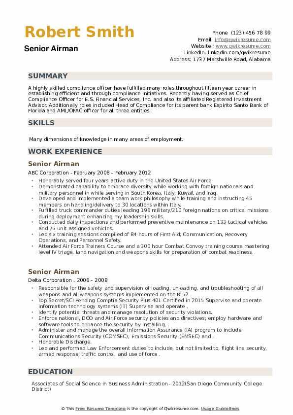 Senior Airman Resume example