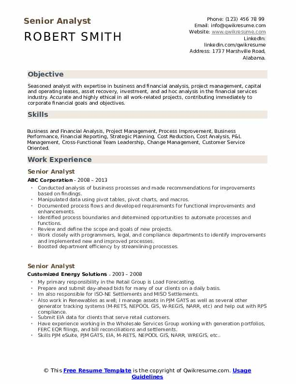 Senior Analyst Resume Model