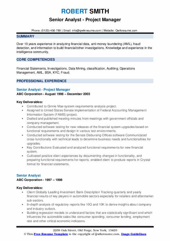 Senior Analyst - Project Manager Resume Template