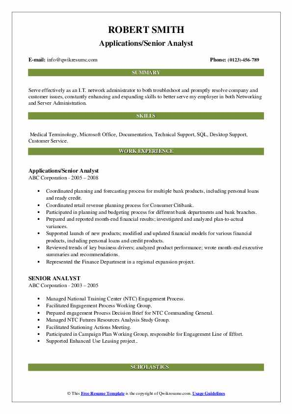 Applications/Senior Analyst Resume Model
