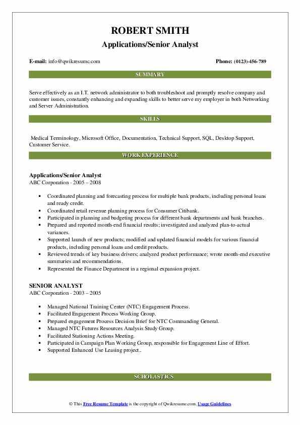Applications/Senior Analyst Resume Format