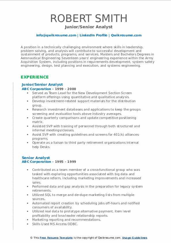 Junior/Senior Analyst Resume Example