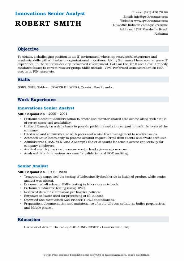 Innovations Senior Analyst Resume Example