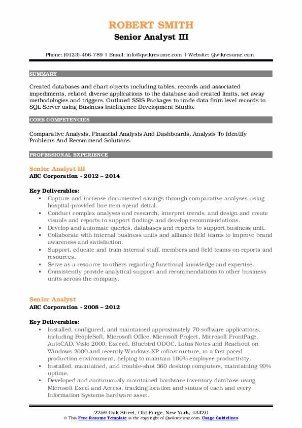 Senior Analyst III Resume Example