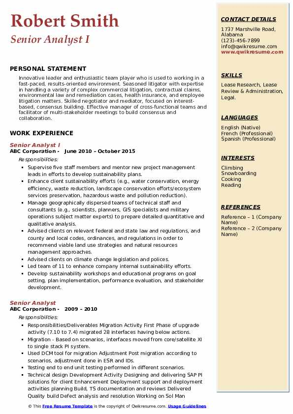 Senior Analyst I Resume Sample
