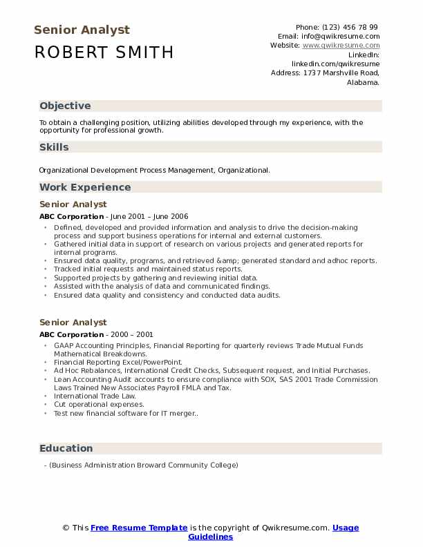 Senior Analyst Resume example
