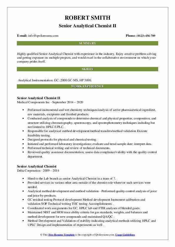 senior analytical chemist resume samples  qwikresume