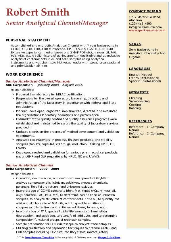 senior analytical chemist resume samples