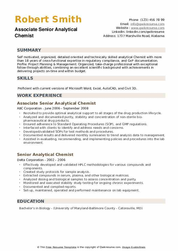 Senior Analytical Chemist Resume example