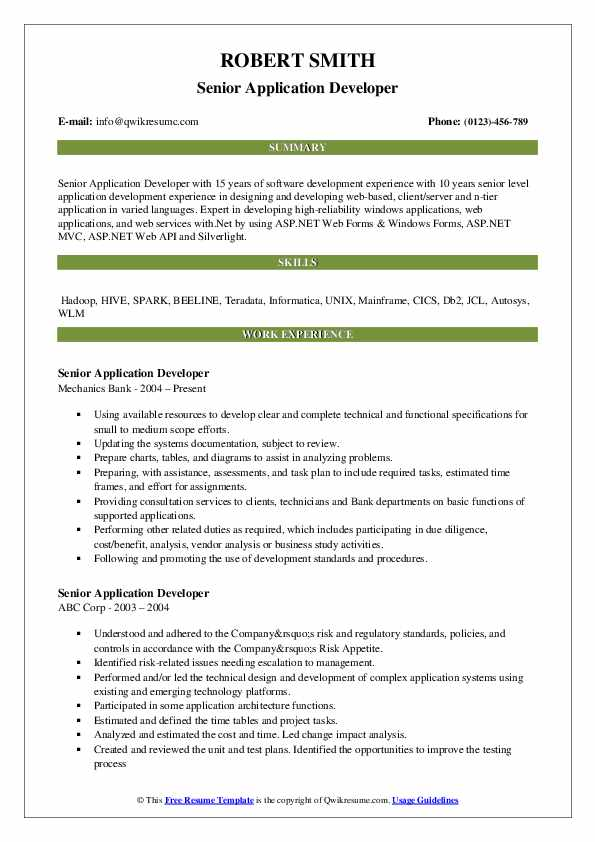 Senior Application Developer Resume Sample