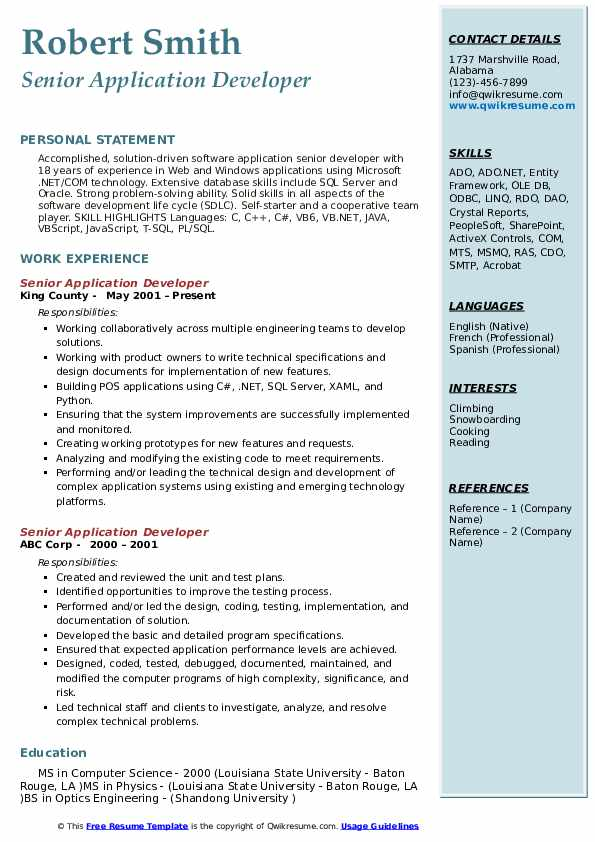 Senior Application Developer Resume Model