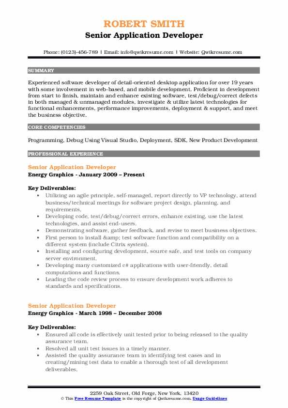 Senior Application Developer Resume Format
