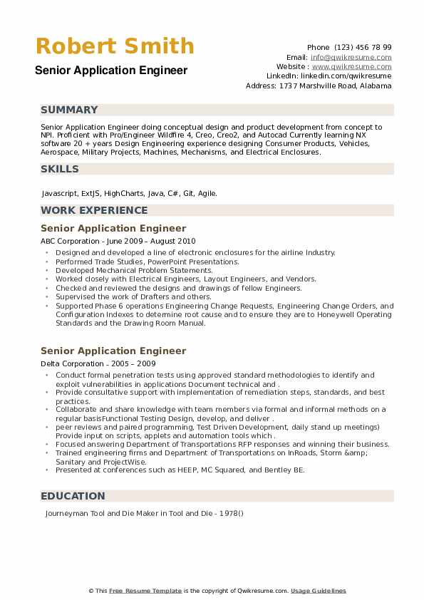 Senior Application Engineer Resume example