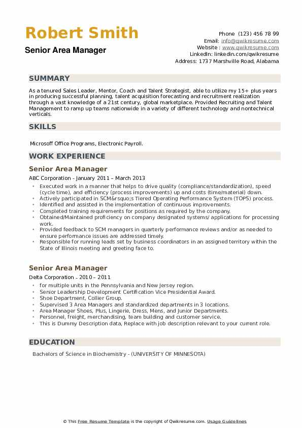 Senior Area Manager Resume example