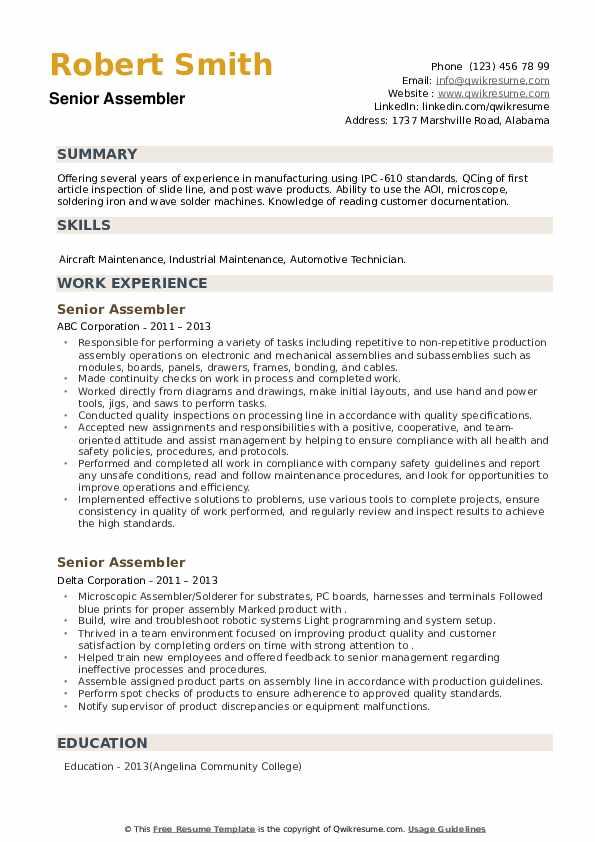 Senior Assembler Resume example