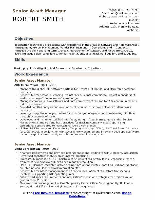 senior asset manager resume samples  qwikresume
