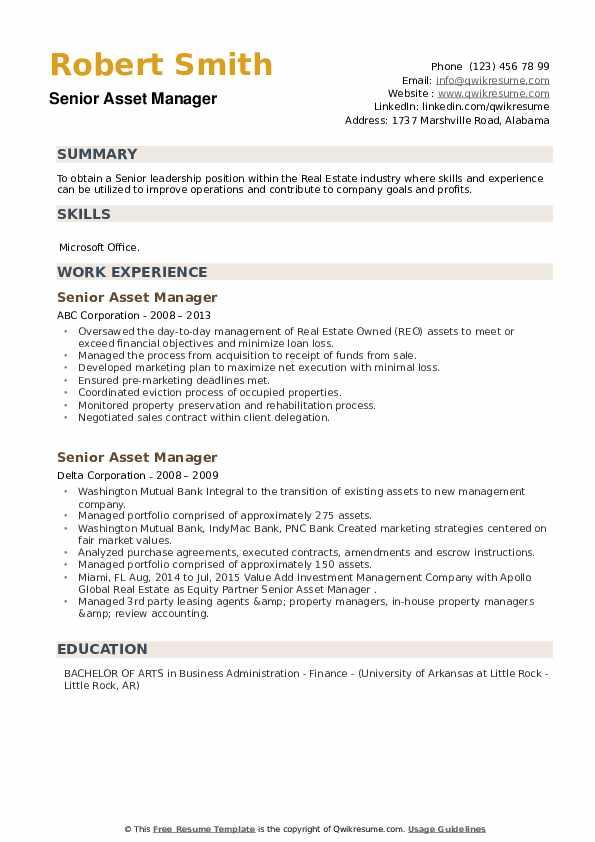 Senior Asset Manager Resume example