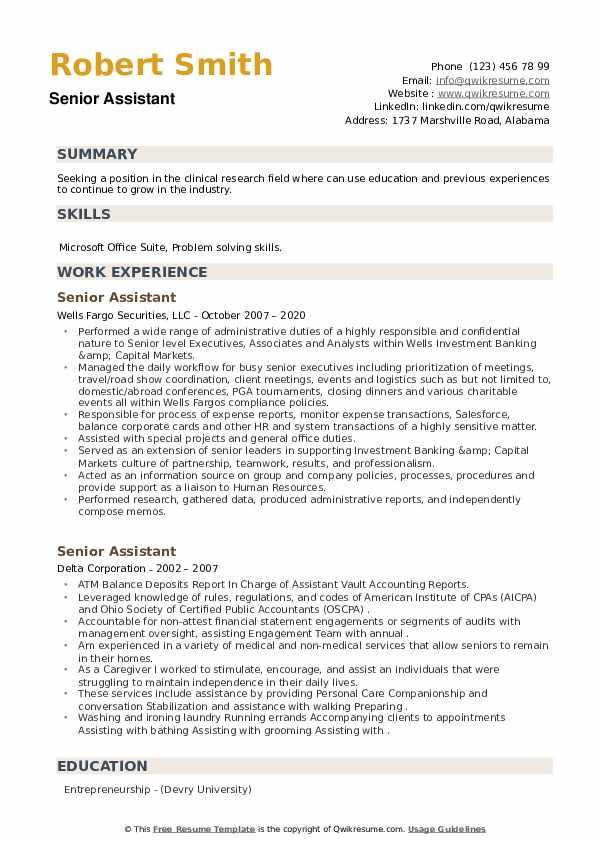 Senior Assistant Resume example