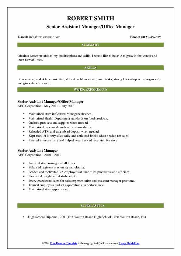 Senior Assistant Manager/Office Manager Resume Template