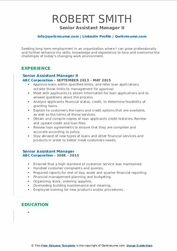 Senior Assistant Manager II Resume Template