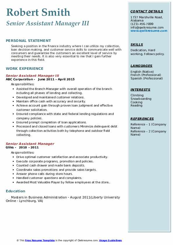 Senior Assistant Manager III Resume Sample