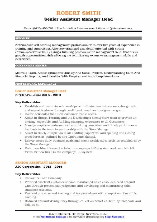 Senior Assistant Manager Head Resume Example