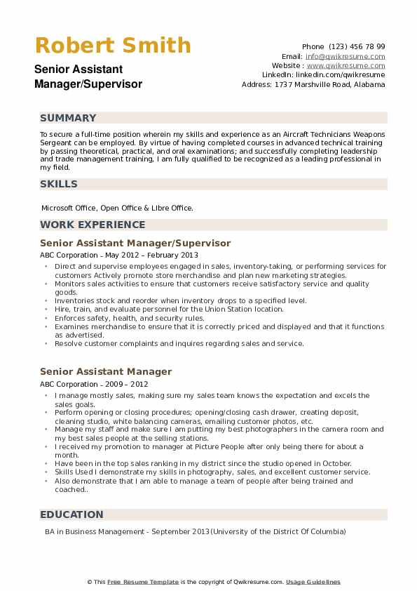 Senior Assistant Manager/Supervisor Resume Format