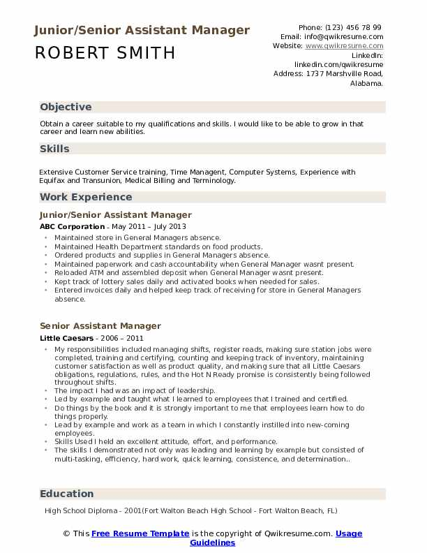 Junior/Senior Assistant Manager Resume Template