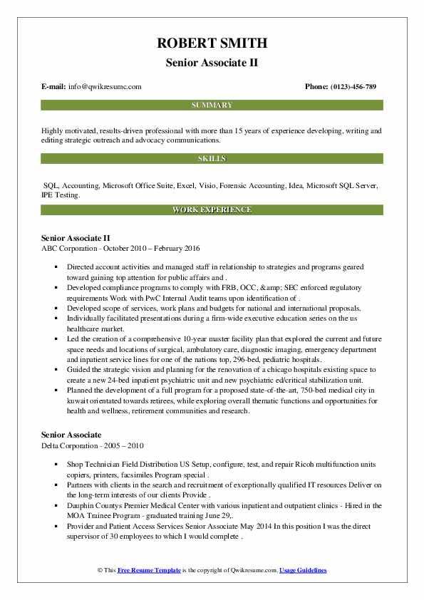 senior associate resume samples  qwikresume