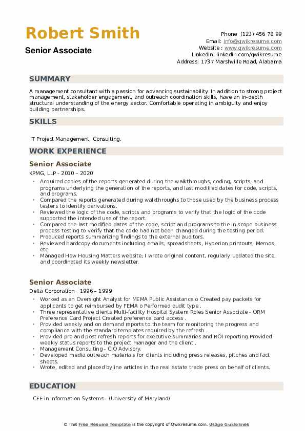 Senior Associate Resume example