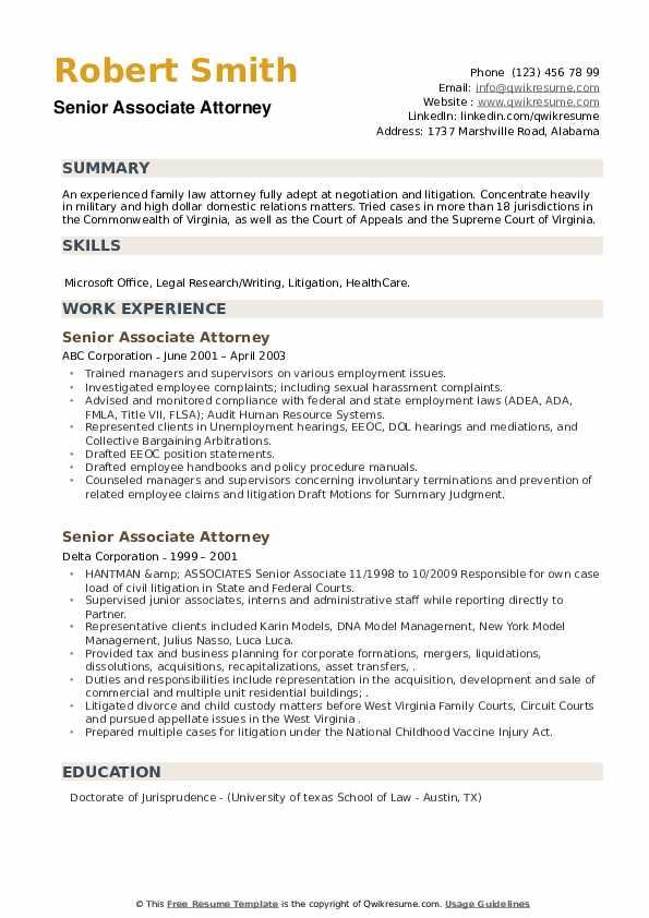 Senior Associate Attorney Resume example