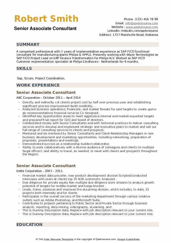 Senior Associate Consultant Resume example