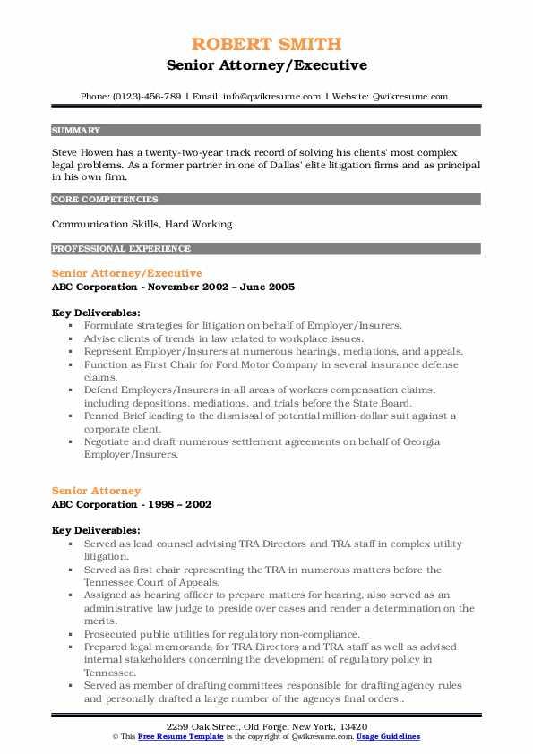senior attorney resume samples  qwikresume