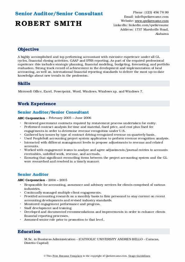 Senior Auditor/Senior Consultant Resume Sample