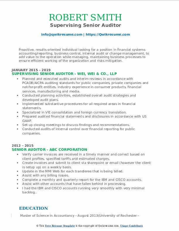 Supervising Senior Auditor Resume Example