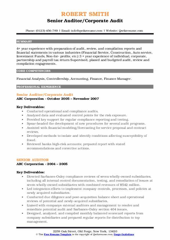 Senior Auditor Resume Samples Qwikresume