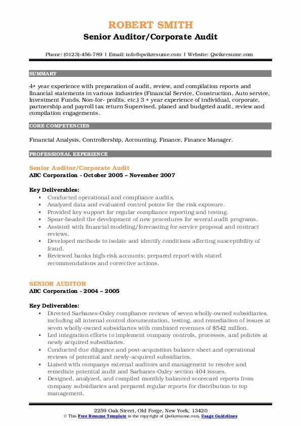 Senior Auditor/Corporate Audit Resume Sample