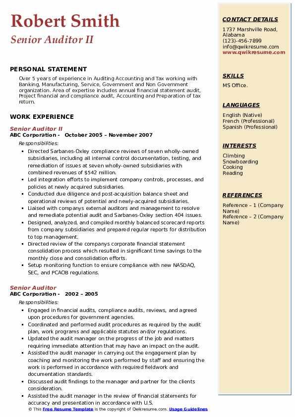 Senior Auditor II Resume Sample