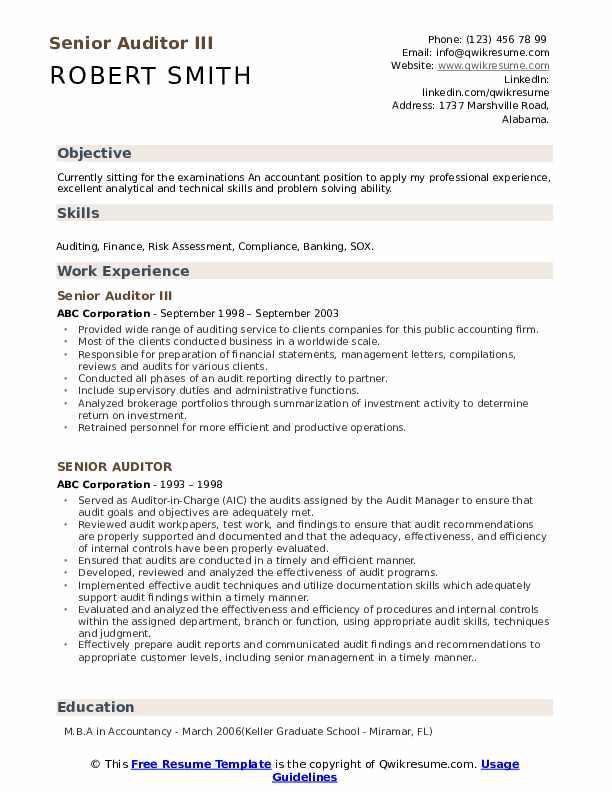 Senior Auditor III Resume Model