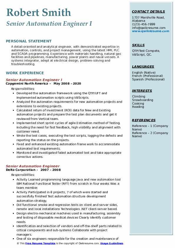 senior automation engineer resume samples  qwikresume