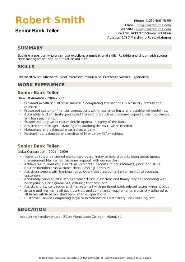 Senior Bank Teller Resume example