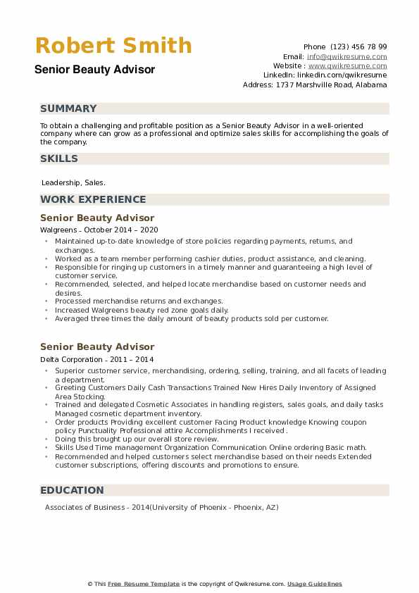 Senior Beauty Advisor Resume example