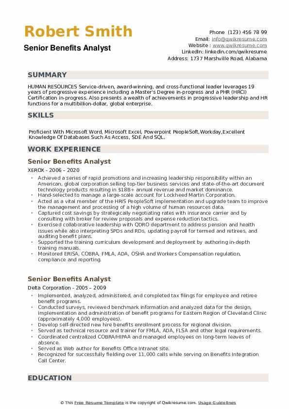 Senior Benefits Analyst Resume example