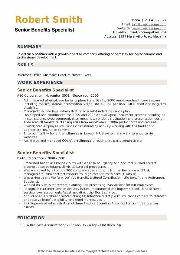 Senior Benefits Specialist Resume example
