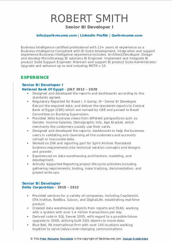 senior bi developer resume samples  qwikresume